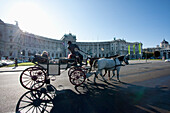 Fiaker (Viennese two-horse hackney carriage) in front of the Hofburg Imperial Palace, Vienna (Wien), Austria