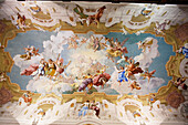 Ceiling fresco by Paul Troge in the Library of Stift Melk Benedictine Monastery, Lower Austria, Austria