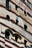 Close-up of window on Waldspirale, a residential building complex in Darmstadt, Germany