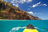 Hawaii, Kauai, Na Pali Coast, View from kayak of coastline and Kalalau Beach. Editorial Use Only.