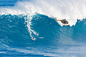 Hawaii, Maui, Peahi (Jaws), Helicopter, Two surfer ride a giant wave
