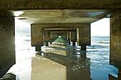 Hawaii, Kauai, Hanalei Bay under the long pier.