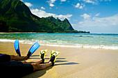 Hawaii, Kauai, A couple wearing yellow and blue fins on beach.
