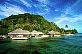 French Polynesia, Huahine, Te Tiare Resort bungalows over ocean, tall palm trees along beach, blue sky