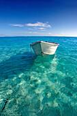 French Polynesia, Tahiti, Bora Bora, White boat floating on turquoise water.