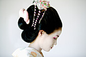 Portrait of traditional Japanese Maiko profile.