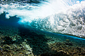 Micronesia, Yap, Underwater view of surf crashing on the reef.