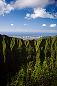 Hawaii, Oahu, Aerial of Honolulu overlooking the Koolau Mountains.