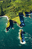 Hawaii, Maui, aerial of rugged north coast.