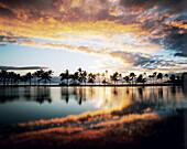 Hawaii, Big Island, South Kohala, Anaeho'omalu Bay, dramatic and colorful sunset sky.