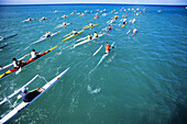 Hawaii, Oahu, Paddlers race one and two-man outrigger canoes in open ocean. NO MODEL RELEASE