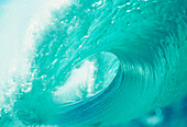 Wave curling, clear clean water, white foam