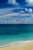 Hawaii, Oahu, North Shore, Sailboat race in distance, view from shoreline, wispy clouds