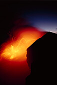 Hawaii, Big Island, Kilauea volcano meets the sea, explosive reaction at twilight