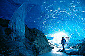 Alaska, Juneau, Mendenhall Glacier, hiking, exploring ice cave, interior view