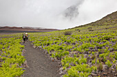 Hawaii, Maui, Haleakala Crater, A couple of hikers trekking through the crater.