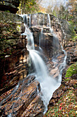 New England, New Hampshire, White Mountains, Sabbaday Falls, A forest waterfall.