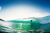 Hawaii, Maui, Honolua Bay, Silhouette of Surfer on Ocean Wave.