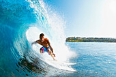 Hawaii, Maui, Kapalua, Professional Surfer Albee Layer in the barrel.