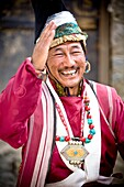 'Man Dressed In Traditional Clothing; Leh, Ladakh, Kashmir, India'