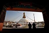 'Tourists Sightseeing At Boudhanath Stupa; Kathmandu, Nepal'