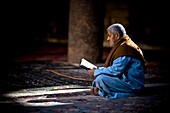 'Man Reading In Mosque; Cairo, Egypt, Africa'