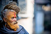 'Man Outdoors With Face Paint In Nepal; Nepal'