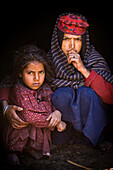 'A Bakarwal Gujjar Mother And Child Sit Together; Lidderwat Valley Kashmir India'