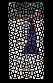 'A Woman Walks By Framed By The Silhouette Of A Screened Window Inside Humayun's Tomb; Delhi India'