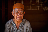 'Senior Indonesian Man In Prayer Hat; Muara Pinang Indonesia'