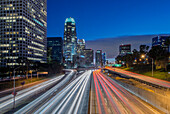 110 Freeway & Downtown Los Angeles. Time lapse photography. Night., 110 Freeway & Downtown LA