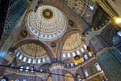 Islamic decoration on interior dome of New Mosque (Yeni Camii), Eminönü, Istanbul
