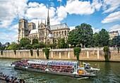 France , Paris City,Notre Dame Cathedral , tourist ship , Sein river