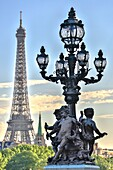 France , Paris City, Alexander III Bridge statue and Eiffel Tower