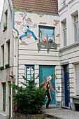 Belgium - Brussels - Street du Bon Secours - Mural of Ric Hochet, hero of a comic strip of  Tibet (draftsman) and A-D Duchâteau ( scriptwriter)