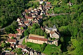 France, Indre (36), Gargilesse-Dampierre, a village labeled one of The Most Beautiful Villages of France (aerial photograph)