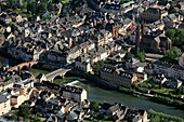 France, Aveyron (12), Espalion, a village on the banks of the Lot, it is crossed by a path of the pilgrimage of Saint Jacques de Compostela, (aerial photo)