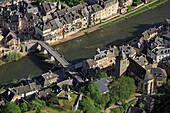 France, Aveyron (12), Saint-Geniez Olt, a village on the banks of the Lot (aerial photo), /