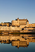 France, Indre et Loire, Loire Valley listed as World Heritage by UNESCO, Amboise, Loire river banks view from Ile d'Or, General Leclerc bridge, the historic town and castle
