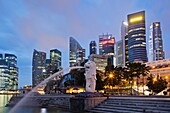 Singapore,Merlion Statue and City Skyline
