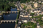 France, Dordogne (24), Terrasson-lavilledieu, tourist town located on the banks of the Vezere Holy Sour church dominates the city (aerial photo)