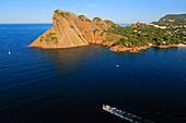 France, Bouches-du-Rhone (13), the Bec de l'Aigle, Figuerolle sheltering the cove of the port of La Ciotat, cliffs and landscape of the Mediterranean coast (aerial photo)