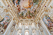 Ceiling fresco in the Steinerner Saal, Nymphenburg palace, Munich, Upper Bavaria, Bavaria, Germany