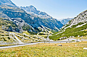 Hairpin turns on the mountain pass road, Stelvio Pass, Stilfser Joch, South Tyrol, Italy