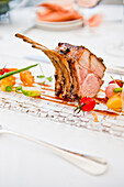 Lamb chops with roasted vegetables, Hotel Castagnola, Lake Lugano, Lugano, Ticino, Switzerland