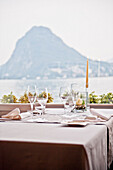 Set table in the restaurant, Hotel Castagnola, Lake Lugano, Lugano, Ticino, Switzerland