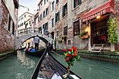 Gondola in the canals of Venice, restaurant, Venetia, Italy, Europe