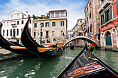 Gondola in the canals of Venice, Venetia, Italy, Europe