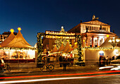 Christmas market with the Schauspielhaus at night, Magic of Christmas market on Gendarmenmarkt square, Berlin center, Berlin, Germany, Europe