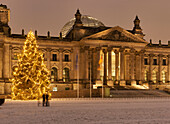 Platz der Republik in the evening light with Reichstag Building, Christmas Tree, Berlin, Germany